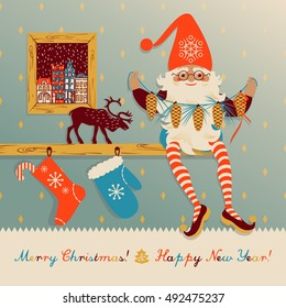 Greeting card with Christmas and New Year with the image of the dwarf with pine cones sitting on a shelf.