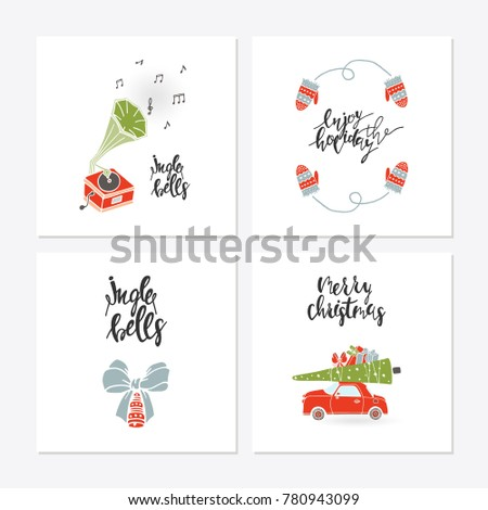 Greeting Card Christmas Toys Christmas Phrases Stock Vector Royalty