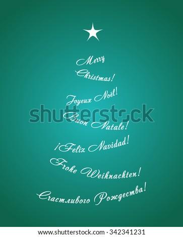 Greeting card christmas tree consisting phrases stock vector greeting card with christmas tree consisting of the phrases merry christmas in five languages m4hsunfo