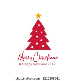Greeting card Christmas tree design vector