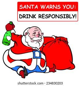 Greeting card: Christmas warning from Santa. Drink responsibly! EPS8 vector illustration.