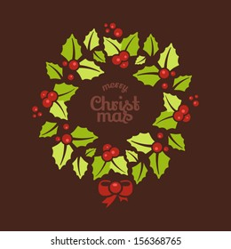 Greeting card with a Christmas wreaths and Merry Christmas message