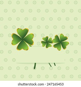 Greeting card with clover leaves for St. Patrick's Day