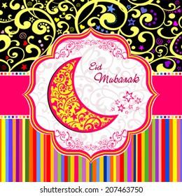 Greeting card. Colorful moon for Muslim community festival Eid Mubarak. Vector Illustration