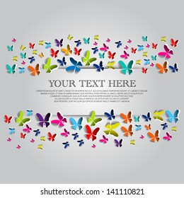 Greeting card with colorful paper butterflies - vector background