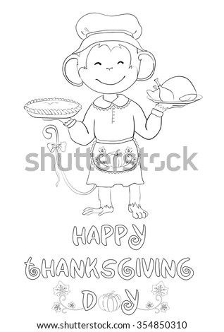 Greeting Card Coloring Thanksgiving Day One Stock Vector (Royalty ...
