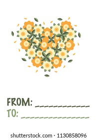 Greeting card with a composition of flowers, leaves and petals in a shape of a heart and a free space for writing from and to whom a card for on the white background.