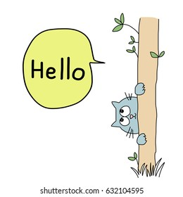 Greeting card concept with cute blue cat clinging to a trunk of tree, playing peek-a-boo and saying hello. Vector illustration with hand-drawn style.