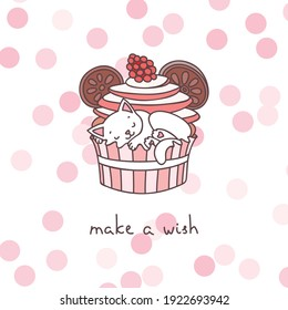 Greeting card concept. Cute illustration of a little white kitten playing with a cupcake. Vector 10 EPS.