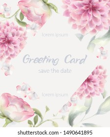 Greeting card crysanthemum Vector watercolor. Delicate decor textures floral background