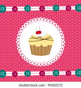 greeting card with cup cake, background. vector illustration