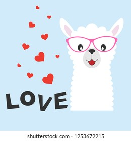 Greeting card Cute baby lama with glasses and an inscription love isolated in white background. Graphics for t-shirts. Vector illustration.