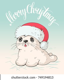 Greeting card  with a cute baby sea in Christmas hat.  Vector