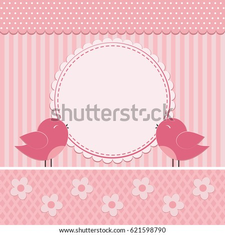 Greeting Card Cute Birds Cartoon Flowers Stock Vector Royalty Free