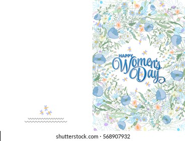 Greeting card with cute blue little flowers. 8 march - women's day. Ready to print card