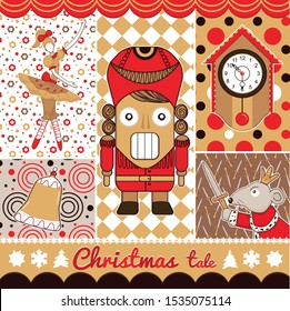 greeting card with Cute cartoon character nutcracker, Mouse King, Old clock, Ballerina characters in yellow ballet skirts, bell, snowflake, tree