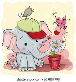 Greeting card cute cartoon Elephant with flower