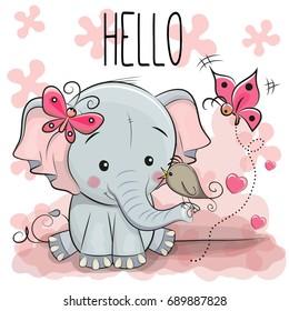 Greeting card cute cartoon Elephant with bird