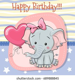 Greeting card Cute Cartoon Elephant with balloon