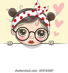 Greeting card cute Cartoon Girl with hearts
