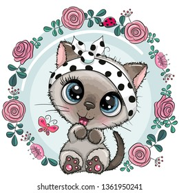 Greeting card Cute Cartoon Kitten with flowers