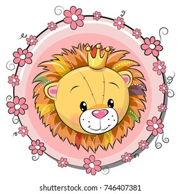 Greeting card cute cartoon Lion with flowers