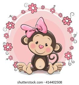 Greeting card cute Cartoon Monkey girl with flowers