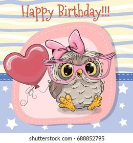 Greeting card Cute Cartoon Owl girl with balloon