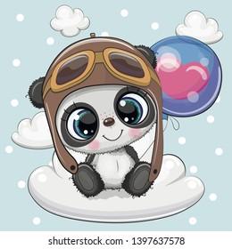 Greeting card Cute Cartoon Panda in a pilot hat with blue balloon on a cloud