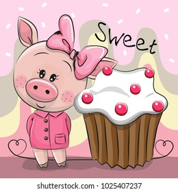 Greeting card Cute Cartoon Pig with cake