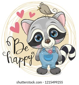 Greeting card Cute Cartoon Raccoon with flower