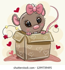 Greeting card with a Cute Cartoon Rat girl and a box