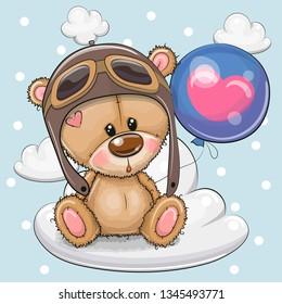 Greeting card Cute Cartoon Teddy Bear in a pilot with blue balloon on a cloud