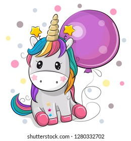 Greeting card Cute Cartoon Unicorn with purple balloon