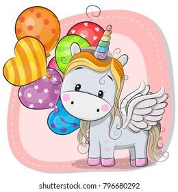 Greeting card Cute Cartoon Unicorn with balloon