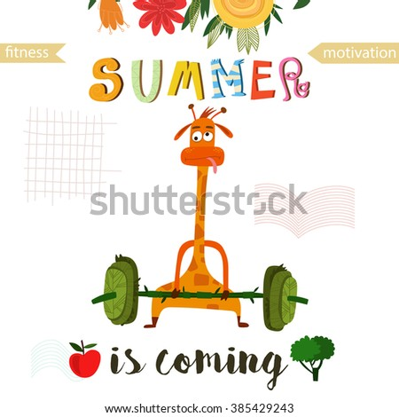 Greeting card cute giraffe summer coming stock vector royalty free greeting card with cute giraffe summer is coming fitness motivation good for sport m4hsunfo