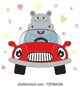 Greeting card cute hippo driving a car on a hearts background.  Illustration done in cartoon style.