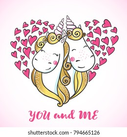 Greeting card with Cute magic Unicorns falling in love in shape of a heart. Valentine's postcard. Love concept. Vector illustration.
