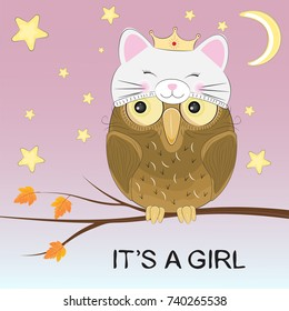 Greeting card cute owl princess sitting on a branch. Greeting card. Vector illustration.