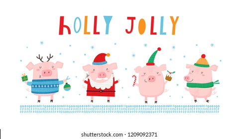 Greeting card with a cute pigs: Holly Jolly. Creative hand drawn card for winter holidays. Vector cartoon illustration. Hand drawn typography poster. Xmas design.