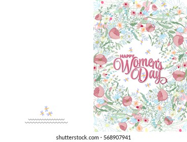 Greeting card with cute pink little flowers. 8 march - Women's day. Ready to print card