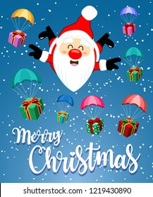 Greeting card with cute Santa Clause skydiving and Gift Box with Parachute freefall in the sky, Holidays cartoon character vector illustration for Merry Christmas and Happy new year
