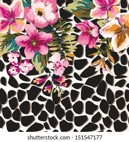 greeting card with cute tropical flower mix animal print