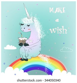 greeting card with cute unicorn