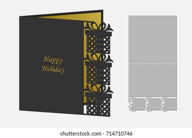 Greeting card for cutting with laser, plotter. Silhouette design. Can be used for congratulations on birthday, Christmas, new year, Valentine's day. Vector illustration.