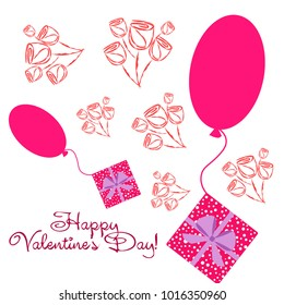 Greeting card day of St. Valentine. Abstract design, roses, flowers, hearts, gifts, vector.