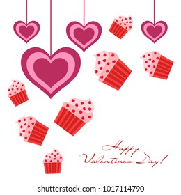 Greeting card day of St. Valentine. Abstract design, capcake, hearts, gifts, vector.