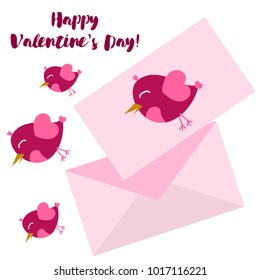 Greeting card day of St. Valentine. Abstract design, pink birds, hearts, gifts, vector.