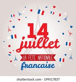 Greeting card design for The Bastille Day fourteen of July. Stylish vector modern illustration and design elements