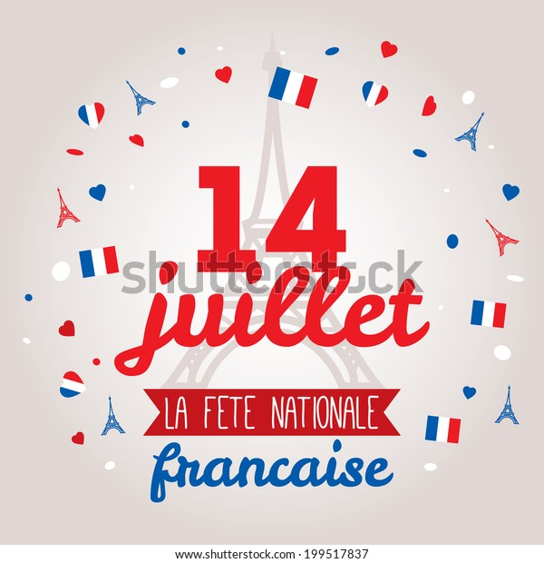 Greeting card design for The Bastille Day fourteen of July. Stylish vector modern illustration and design elements